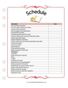 The Wedding Planner Schedule worksheet is a detailed template and checklist for making sure everything goes smoothly the day of your wedding. Fill in the time that people will get dressed, arrive, process, leave the ceremony and arrive at the reception. Free to download and print
