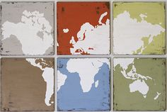 Original Vintage World Map Painting  Large by RightGrain on Etsy, $215.00