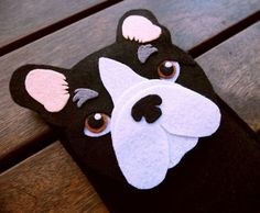 French Bulldog iPhone Case - Dog Felt Phone Cover -  Cell Phone Sleeve - Handmade felt case