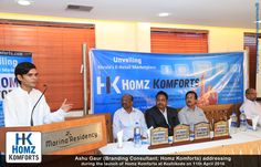 Ashu Gaur (Branding and Marketing Consultant) Addressing at Homz Komforts Launch (Kozhikode, Kerala)