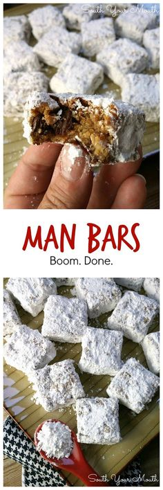 "MAN BARS! ""crazy easy, unique cookie bars made with graham cracker crumbs and chocolate chips, cut and rolled in powdered sugar."" 