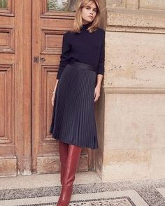 Lovely boots and skirt - simple, elegant, clean - Outfit ideen - - Mode Winter Outfits For Work, Fall Outfits, Casual Outfits, Black Outfits, Party Outfits, Classic Outfits, Simple Outfits, Mode Outfits, Fashion Outfits