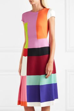 1a8558fd67b Mary Katrantzou - Osmond color-block satin midi dress