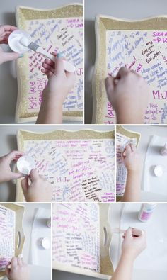 Learn how to make your own wedding guest book serving tray ...