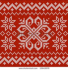 Red knitted stars sweater in Norwegian style, seamless pattern