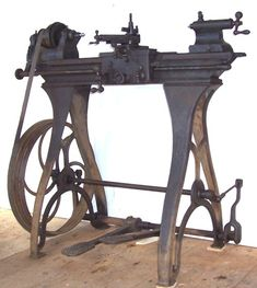 An early  metal lathe #antivibration mounts for lathe -buffers etc. needed even at the time