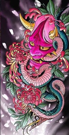 Japanese Flower Tattoo, Japanese Tattoo Designs, Mens Face Tattoos, Sleeve Tattoos, Asian Tattoos, Black Ink Tattoos, Grimes Artwork, Japanese Warrior Tattoo, Hannya Maske
