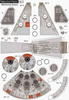 Millennium Falcon Page 3 of 8 Paper Crafts Origami, 3d Paper, Paper Toys, Star Wars Birthday, Star Wars Party, Papercraft Star Wars, Nave Star Wars, Free Paper Models, Star Wars Crafts