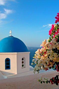 Beautiful Flowers & Chapel in Santorini, Greece
