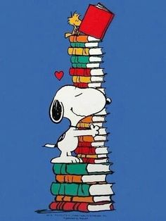 Snoopy and a much-loved stack of books.
