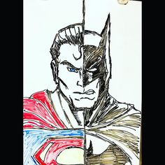 #whiteboardmusings #batmanvssuperman #art #artist #sketch #drawing #illustration #batman #superman #dryerase by 2b_or_not_tobe