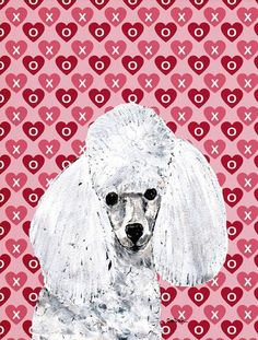 Buy this White Toy Poodle Hearts and Love Flag Canvas House Size SC9701CHF