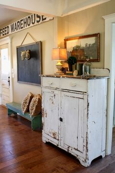 Distressed white cupboard, bench, chalkboard, TUESDAYS WITH DORIE