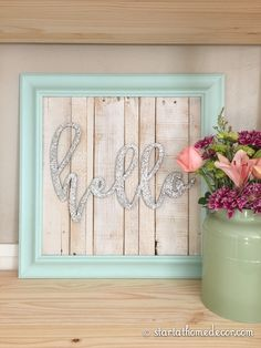 Start at Home Decor's New Line of Reclaimed Wood Signs with Glittered Wording. Hello