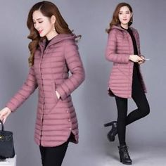 2019 winter autumn women cotton new slim coat hooded cotton padded jacket all-match parkas cotton padded jacket female outwear material : polyester color : purple,green,black,brown size : Fall Outfits For Work, Warm Outfits, Casual Fall Outfits, Winter Fashion Outfits, Stylish Outfits, Coats For Women, Jackets For Women, Clothes For Women, Korean Outfits