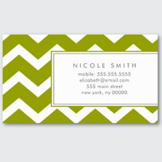 Business Cards » Green Chevron Pattern Calling Cards  Templates