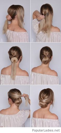 What's the Difference Between a Bun and a Chignon? - How to Do a Chignon Bun – Easy Chignon Hair Tutorial - The Trending Hairstyle Medium Hair Styles, Curly Hair Styles, Hair Medium, Hair Styles Work, Style Hair, Hair Dos, Braided Hairstyles, Buns Hairstyles Tutorials, Lower Bun Hairstyles