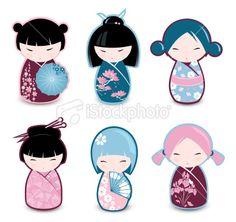Illustration of Kokeshi dolls vector art, clipart and stock vectors. Japanese Traditional Dolls, Japanese Doll, Japanese Party, Asian Doll, Thinking Day, Kokeshi Dolls, Momiji Doll, Diy Doll, Clay Art