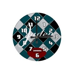 Jaden Football Green, Black, and Silver Checked Clock by MakeItPersonal on Zazzle