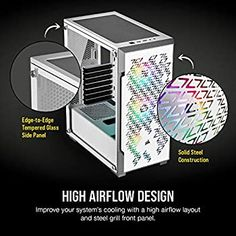 Corsair iCUE 220T RGB Airflow Mid-Tower PC Gaming Smart Case, Tempered Glass - White: Amazon.com.au: Computers & Accessories Electric Mirror, Pc Components, Calvin Klein Men, Window Panels, Wood Doors, Computer Accessories, Light Up, Improve Yourself, Tower