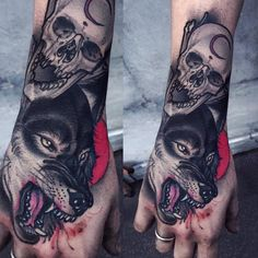 Tattoo done by Brando Chiesa. Hand And Finger Tattoos, Hand Tats, Finger Tattoo For Women, Tattoos For Women, Wolf Tattoos, Animal Tattoos, Tinta Tattoo, Wildlife Tattoo, Fuchs Tattoo
