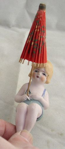 Antique German Hand Painted Bisque Bathing Beauty Germany 4325 w Paper Parasol | eBay