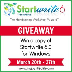 StartWrite - The Handwriting Worksheet Wizard {Blog Birthday Giveaway} - My Joy-Filled Life