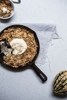 Browned Butter, Caramel, & Coconut Skillet Apple Crumble
