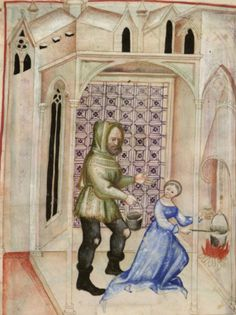 """Cooks and Cooking -from The Tacuinum Sanitas , Late 14th century.  (TAG: LINK=>BLOG PAGE TITLED """"MEDIEVAL TRADES AND CRAFTS"""" W/MANY MORE IMAGES; PUBLIC DOMAIN)"""