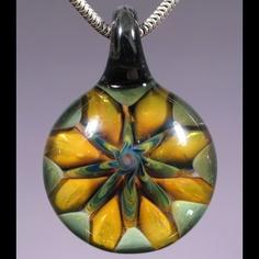 Cedar Rose Glass Flower Pendant - Boro Lampwork Jewelry by Glass Peace $22.95