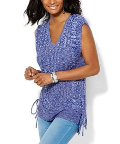 Grand Sapphire Marled Lace-Up Hi-Low Tunic
