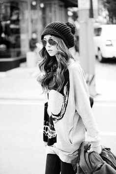 fall + winter + cold weather fashion/ style. oversized sweater / hoodie + beanie + aviators + black jeans / leggings. comfy!!!