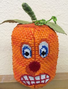 3D Pumpkin Needlepoint Canvas by Labors of Love. Stitch Guide and Canvas available at www.thefrenchknot.com.