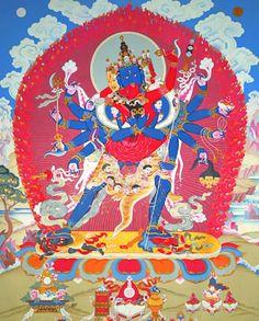 Heruka es una Deidad (Buda tántrico) principal del Tantra Madre, que es la encarnación del gozo y la vacuidad inseparables.    Heruka tiene un cuerpo de color azul, cuatro rostros y doce brazos, y abraza a su consorte Vajravarahi. Estos dos no son entidades diferentes, como un marido y mujer ordinarios son personas diferentes; en realidad, su abrazo divino simboliza la unión del gran gozo y la vacuidad, que son una misma esencia.