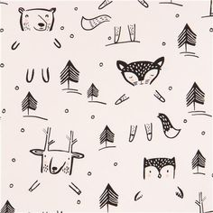 white cute tree bear deer rabbit animal fabric by Dear Stella USA 2
