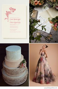 Muted Florals: featuring our 'Mallory' #weddinginvitation (click for image sources)