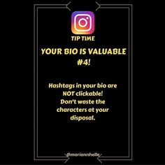 Tip time: Hashtags in your bio are NOT clickable so don't waste the characters available. Rather use them to tell potential followers what you do and what value you have to offer! This is where you want to promote YOU! Want to learn more? CLICK LINK IN BIO  and JOIN my FB-community for EXCLUCIVE and FREE resources!  @mariannhelle --------------------------------