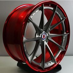 Brushed Titanium with Polished Red Outer and Inner Barrels Rims For Cars, Rims And Tires, Wheels And Tires, Car Wheels, Car Rims, Custom Classic Cars, Custom Cars, Chrome Wheels, Custom Wheels