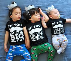 Big, Middle & Little Brother Shirts - Three (3) Pack Boys If You Mustache I'm the Brother Shirts - Hipster Kids Clothes - Funny Boy Mustache on Etsy, $40.00
