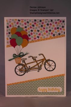 Pedal Pusher Stamp and It's My Party DSP, Stampin' Up