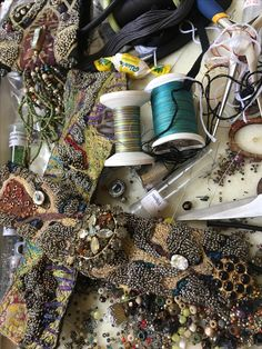 work in progress. Free Motion Embroidery, Beaded Embroidery, Hand Embroidery, Machine Embroidery, Bead Embroidery Jewelry, Textile Jewelry, Fabric Jewelry, Jewellery, Beaded Jewelry Designs