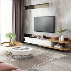 Luxury White Movable TV Stand And Round Coffee Table Combination Nordic Minimalist Living Room Wood Furniture Set Nordic Living Room, Simple Living Room, Living Room White, Living Room Modern, Living Room Designs, Living Room Tv Cabinet, Living Room Furniture, Furniture Sets, Living Room Decor
