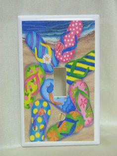 Flip flops bathroom bath and surf board on pinterest for Flip flop bathroom decor