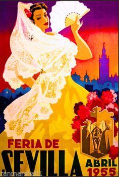 1955-Sevilla-Seville-Spain-Europe-European-Vintage-Travel-Advertisement-Poster