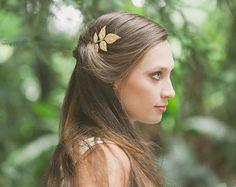 Gold Leaf Hair Clips Leaf Hair Bobby Pins Boho by EchoandLaurel