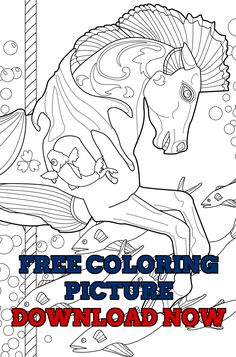 A Free Coloring Page To Share With You Horses That Swim In