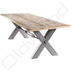 """Stoere tafel """"Kansas"""" met industrieel metalen onderstel X: http://link.marktplaats.nl/856764189"""