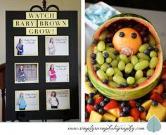 Baby Shower Ideas - Baby Bump Photo Board & Fruit Baby Basket