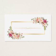 Chic Floral Gold Frame Makeup Artist Beauty Salon Business Card in 2019