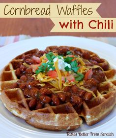 Cornbread Waffles with Chili - fun and easy weeknight meal
